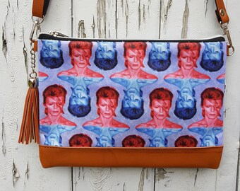 David Bowie Aladdin Sane Handbag - Blue and Red Lightning Bolt Bag Brown