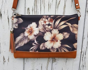 Taupe Tropical Hibiscus Handbag - Jungle Floral Holiday Bag Brown