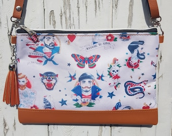 Vintage Tattoo Sailor Handbag - Rockabilly Swallow Anchor Man Hunk Nautical Brown Bag Clutch