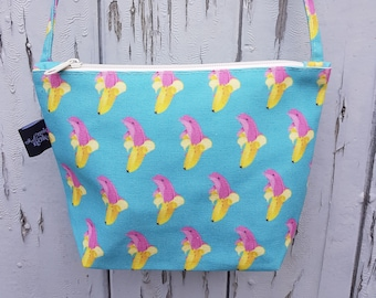 Dolphin Banana Canvas Handbag - Bag Purse Blue Pink Cute