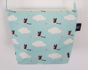 Blue Flying Flamingo Canvas Handbag - Bag Purse