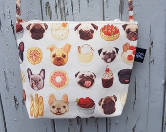 Dogs and Cake Canvas Handbag - Sweet Bag Purse Puppy Pug Dog French Bulldog