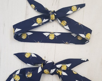 Matching Mum & Baby/Toddler Rockabilly Head Scarf - Navy Blue Bee