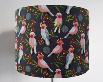 Handmade Grey Bird Lampshade - Optional Metallic Lining - Cockatiel Light Shade