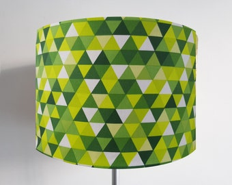 Handmade Geometric Green and White Lampshade