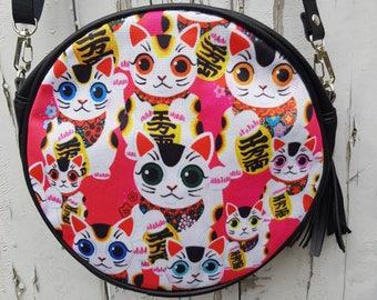 Pink Maneki Neko Lucky Cat Round Handbag - Japanese Cute Kitten Bag Clutch