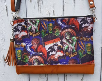 Horror Movie Handbag - Vampire Zombie Monster Comic Frankenstein Bag Brown