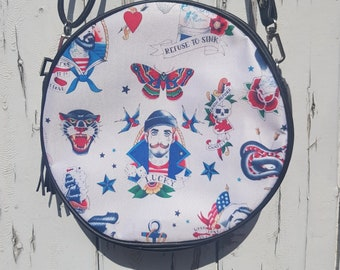 Vintage Tattoo Sailor Handbag - Rockabilly Swallow Anchor Hunk Man