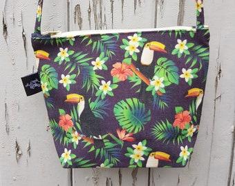 Black Tropical Toucan Natural Canvas Handbag - Hibiscus Floral Bag Purse