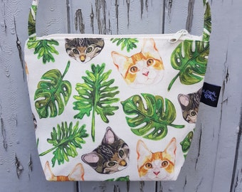 Tropical Cat Canvas Handbag - Jungle Bag Purse Cats Leaf Kitten