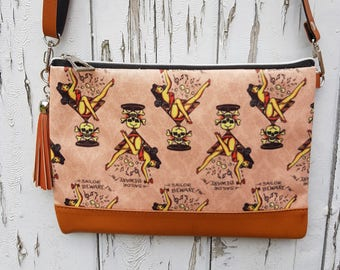 Vintage Sailor Beware Tattoo Handbag - Pin Up Martini Glass Bag Brown
