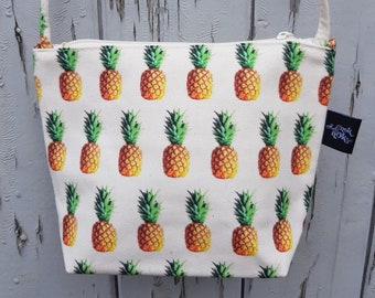 Tropical Pineapple Natural Canvas Handbag - Hibiscus Tropical Floral Bag Purse
