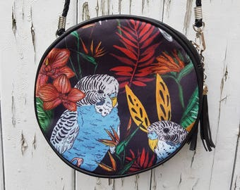 Tropical Budgie Handbag - Jungle Budgerigar Bird Bag Black Round