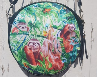 Rainforest Sloth and Frog Handbag - Bag Tropical Jungle Purse Black