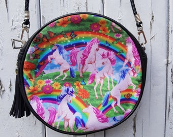 Unicorn & Rainbow Black Round Handbag - Mystical Alternative Pink Bag Clutch