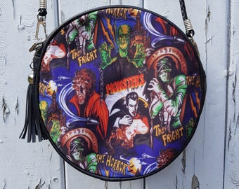 Horror Movie Black Round Handbag - Vampire Frankenstein Werewolf Bag Clutch
