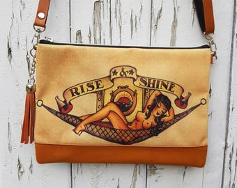 Vintage Pin Up Girl Tattoo Handbag - Sailor Navy Bag Brown