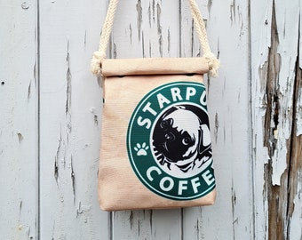Starpugs Handbag - Waterproof Small Bag - Recycled Polyester - Pug Starbucks Dog