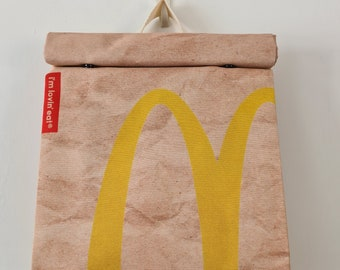 McDonalds Style Backpack - Waterproof Rucksack School Bag - Recycled Polyester - Funny Gift Fast Food Take Away