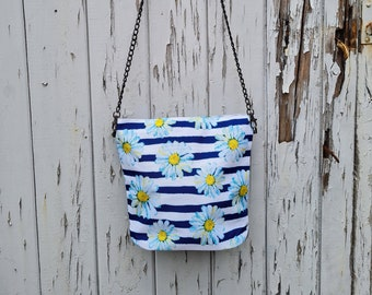 Blue Stripe Daisy Handbag - Waterproof Bag - Recycled Polyester - Nautical