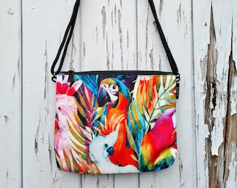 Tropical Cockatoo Handbag - Waterproof Small Bag - Recycled Polyester - Pale Blue - Birds Parrot Painted