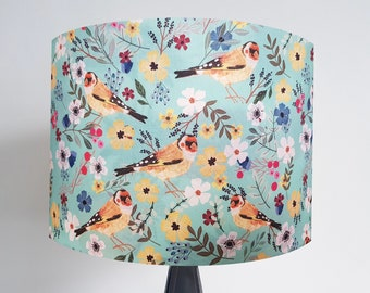Handmade Turquoise Goldfinch Lampshade - Metallic Light Ceiling Bird Gold Bronze Silver Finch
