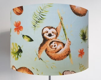 Mint Green Jungle Sloth Lampshade - Cute Coconut Bedroom Ceiling Light