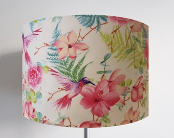 Handmade White Hummingbird Lampshade - Hibiscus Bird Ceiling Light