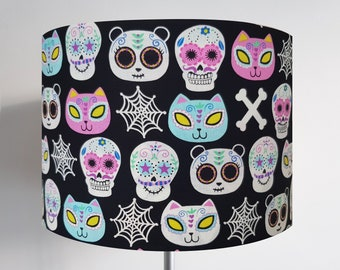 Handmade Black Candy Skull Cat & Panda Lampshade