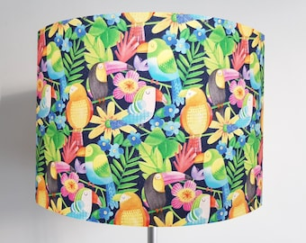 Handmade Tropical Bird Lampshade - Metallic Lining - Light Shade Ceiling Gold Jungle Copper Toucan Parrot