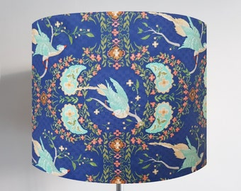 Royal Blue Bird Pattern Lampshade - Ceiling Light Birds Tropical