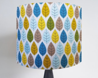 Handmade Woodland Leaf Lampshade - Metallic Light Green Yellow Brown