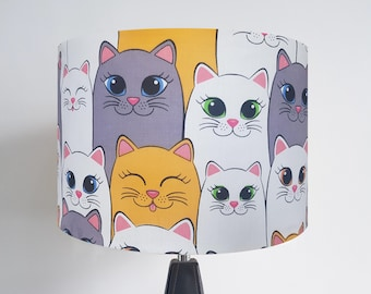 Handmade Yellow and White Cat Lampshade -  Ceiling Light Shade Vintage Home House Nursery