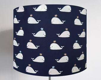 Dark Blue Whale Lampshade - Ceiling Light Gold Sea