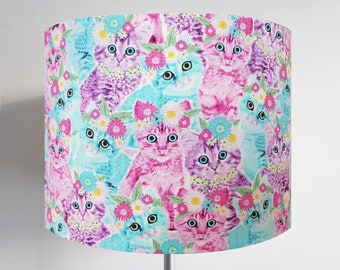 Handmade Pink & Blue Cat Lampshade