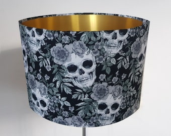 Handmade Black Skull & Rose Lampshade - Metallic Light Gold Gothic Grey