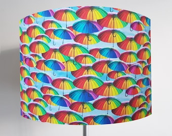 Handmade Rainbow Umbrella Lampshade - Metallic Light Colourful Bright