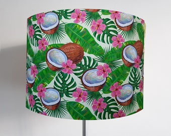 Handmade Tropical Coconut & Hibiscus Lampshade - Metallic Light Green Pink Leaf