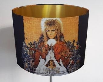 Labyrinth Movie Lampshade with White, Bronze, Gold or Silver Lining  David Bowie
