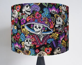 Handmade Black Day of the Dead Lampshade with Bronze, Gold or Silver Lining - Skeleton Skull Dia De Los Muertos
