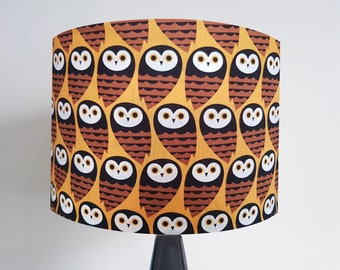 Handmade Brown Owl Lampshade - Metallic Lining - Light Shade Ceiling Geometric 1960s Bird Copper