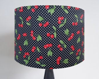 Handmade Black Cherry & Polka Dot Lampshade - Metallic Light Retro Rockabilly