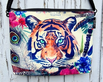 Tropical Tiger Handbag - Waterproof Small Bag - Recycled Polyester - Peacock Flower