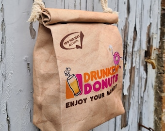 Drunken Donuts Handbag - Waterproof Small Bag - Recycled Polyester - Beer Dunkin Funny Gift