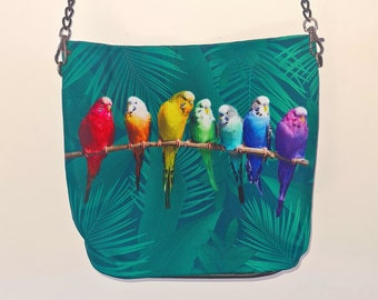 Green Budgie Handbag - Waterproof Bag - Recycled Polyester - Rainbow Budgerigar Bird Parrot Jungle