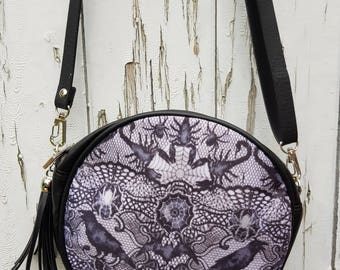 Gothic Spider & Scorpion Lace Effect Handbag - Goth Horror Raven Bat Halloween Black Bag Clutch