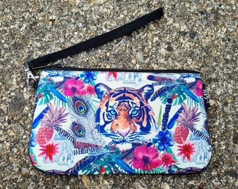 Tiger Purse - Waterproof Handbag - 100% Recycled Polyester - Tropical Jungle Peacock
