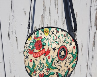 Vintage Tattoo Round Handbag - Rockabilly Swallow Anchor Sailor Nautical Clutch Bag