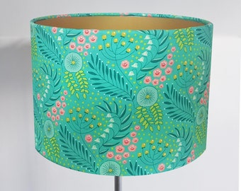 Handmade Green Leaf & Flower Lampshade - Metallic Lining - Light Shade Ceiling