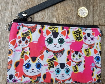 Pink Maneki Neko Lucky Cat Purse - Japanese Kitten Kawaii Black Clutch Bag